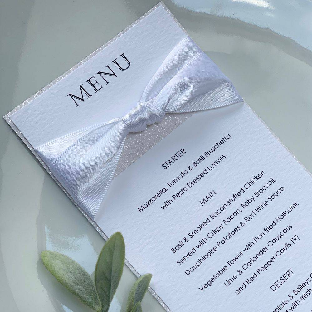Wedding Menu with white glitter