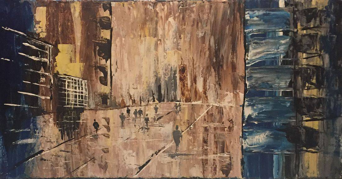 cityscape people original abstract acrylic canvas painting