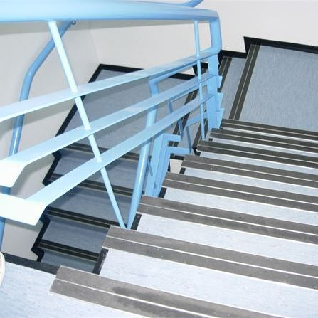 staircase, industrial, homogenous vinyl XL PU, safety stair nosings, gradus stair nosings