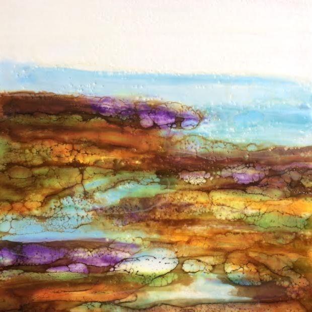 encaustic landscape, beach scape, landscape painting, encaustic and shellac, encaustic artist