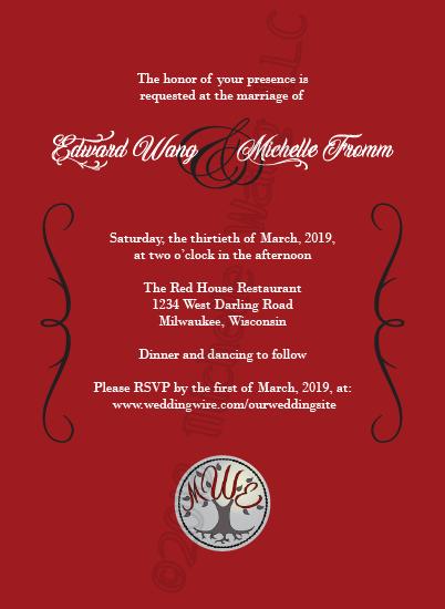 wedding invitation sample example red black white tree swirls elegant simple clean lines