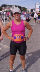 Photo description: Shanna is standing after completing the Sprint Triathlon, 2009