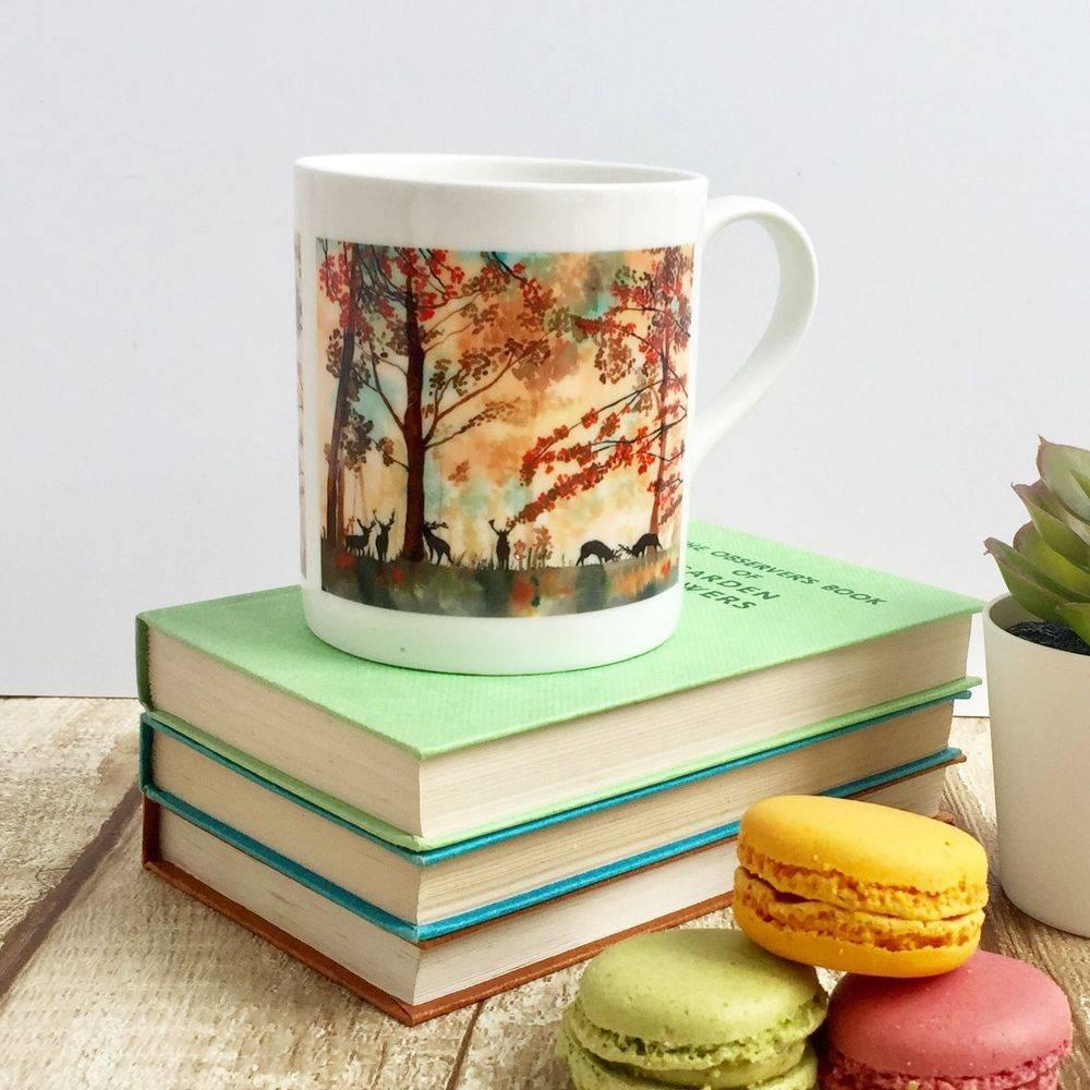 Tatton Park deer stag autumn bone china mug cup watercolour painting