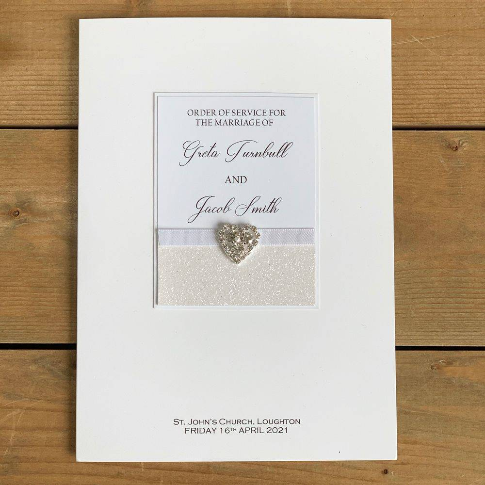 Wedding Order of Service booklet with White glitter and Crystal heart