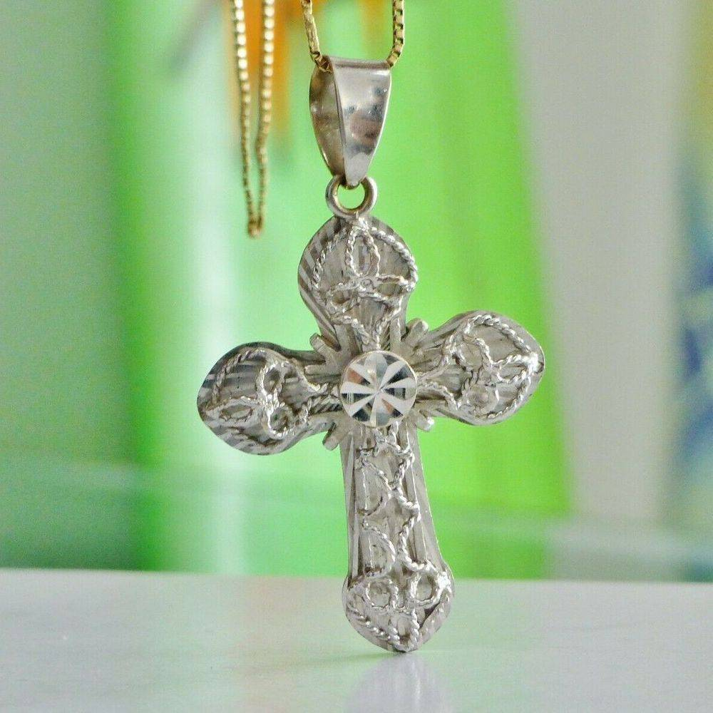 3D white gold cross charm with raised filigree design