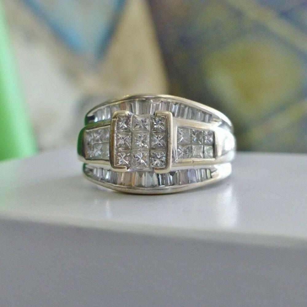 white gold princess cut diamond composite ring on a box