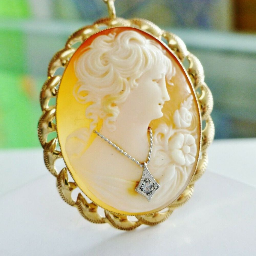 14K Yellow Gold Diamond Accent Fancy Frame Cameo Pendant