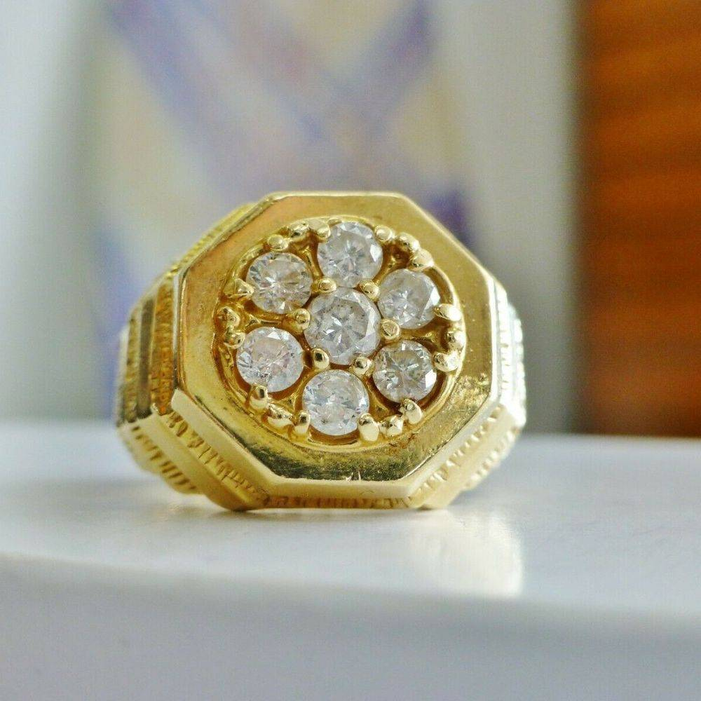 7 round diamond cluster mens ring in yellow gold
