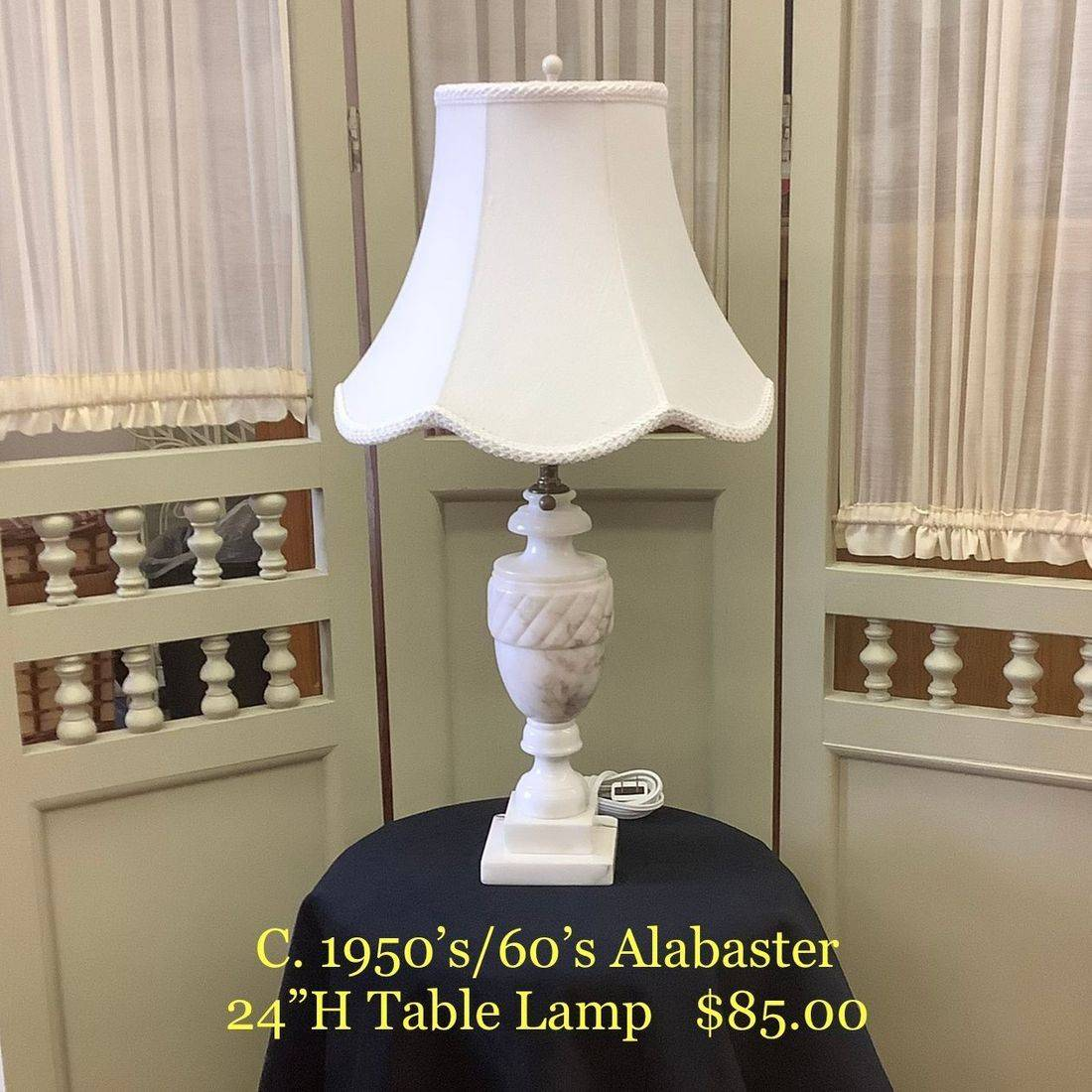 """C. 1950's/60's Alabaster 24""""H Table Lamp (newly rewired)   $85.00"""