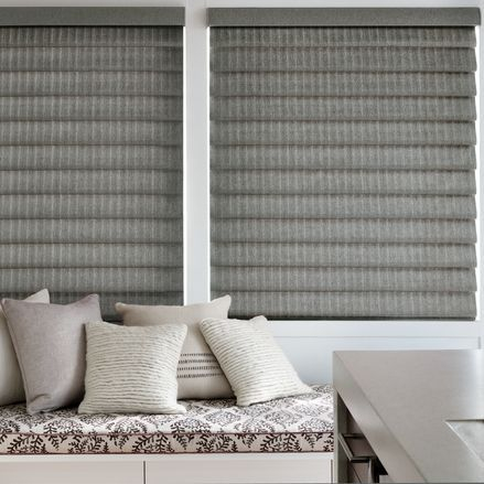 Hunter Douglas Vignette Modern Roman Shades are a good option for bay windows.