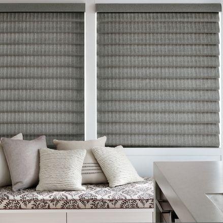 Hunter Douglas Vignette Modern Roman Shades are a good option for bay windows.