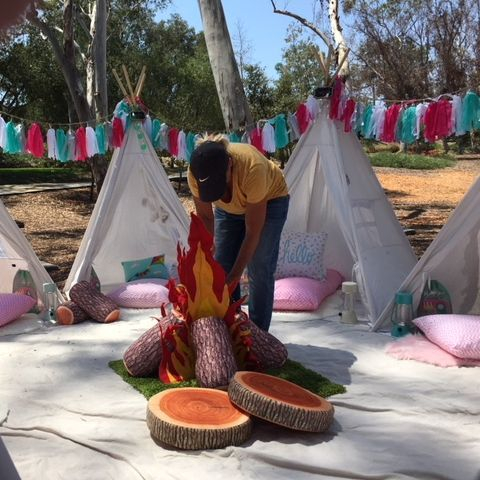 Kids party rentals, kids party planner, kids birthday parties, teepee rentals, teepee party, kids party planner, kids event planner, Happy Camper, Happy Glamper, Newport Beach, Orange County, CA