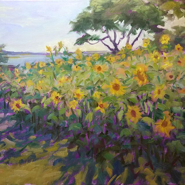 KCrenshaw - Sunflowers on the Sound 16x20 oil on linen