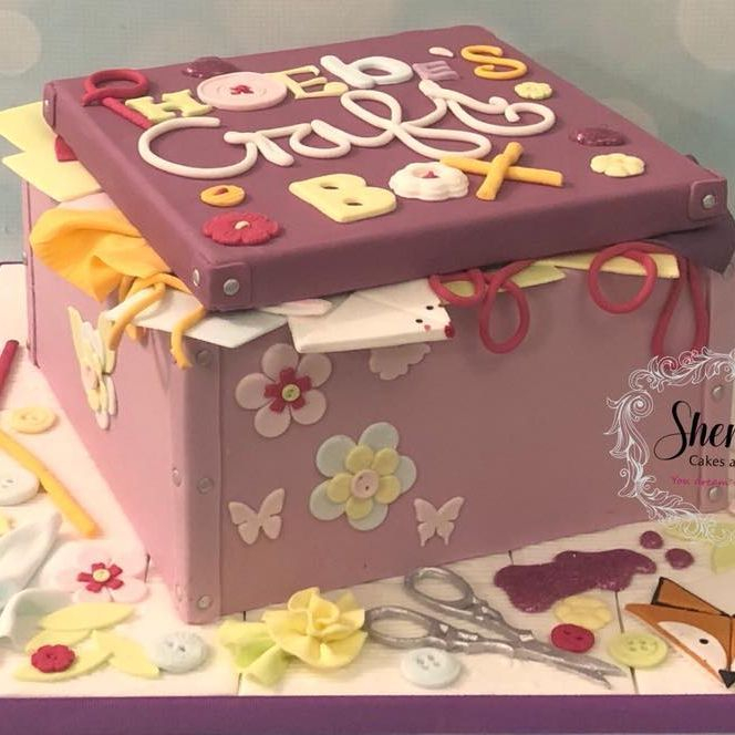 Craft Box Birthday Cake Glitter Glue String Scissors Origami Buttons