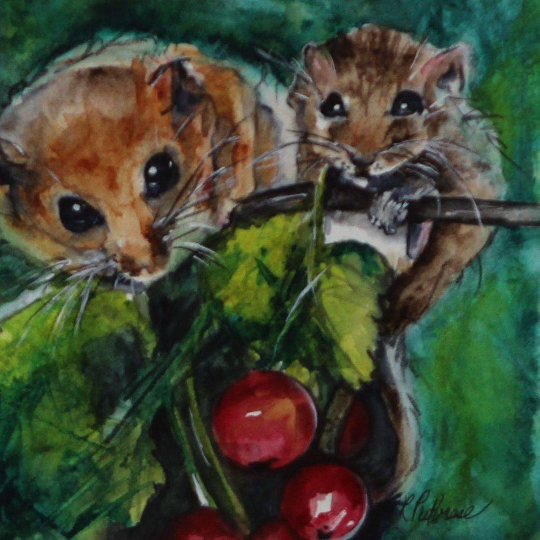 Rebecca Krutsinger nature watercolor painting of mother mouse and baby
