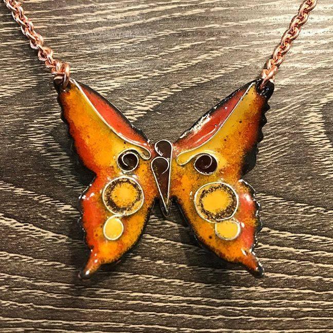 VThatcher -  Enamel Cloisonné Butterfly necklace