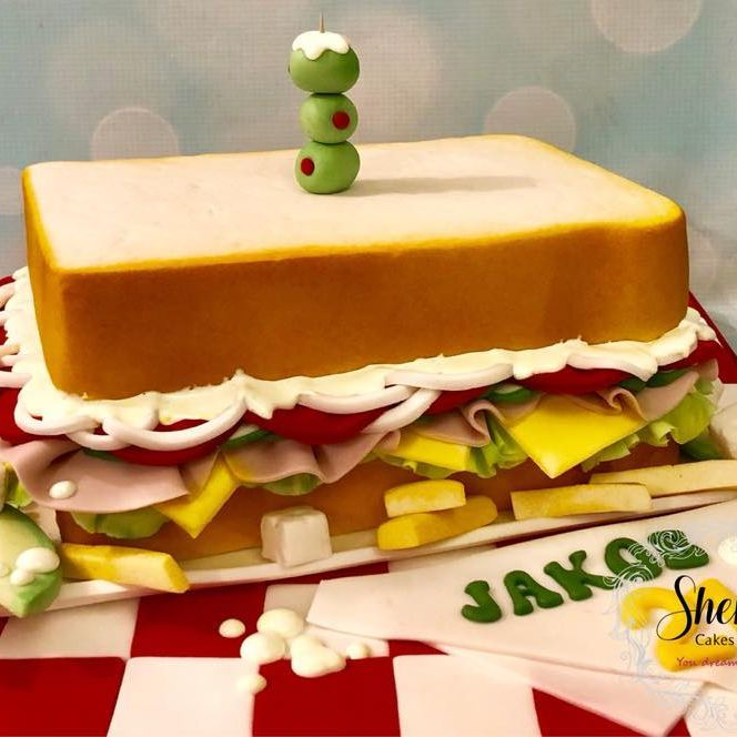 Sandwich Novelty Birthday Cake Olives Feta Avocado Cheese Ham Tomato Cheese Lettuce Fries Chips Onions Mayonnaise Salad Cream