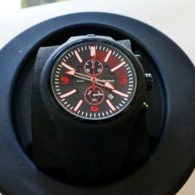 Black, Red and White Mens rubber watch in round, black case