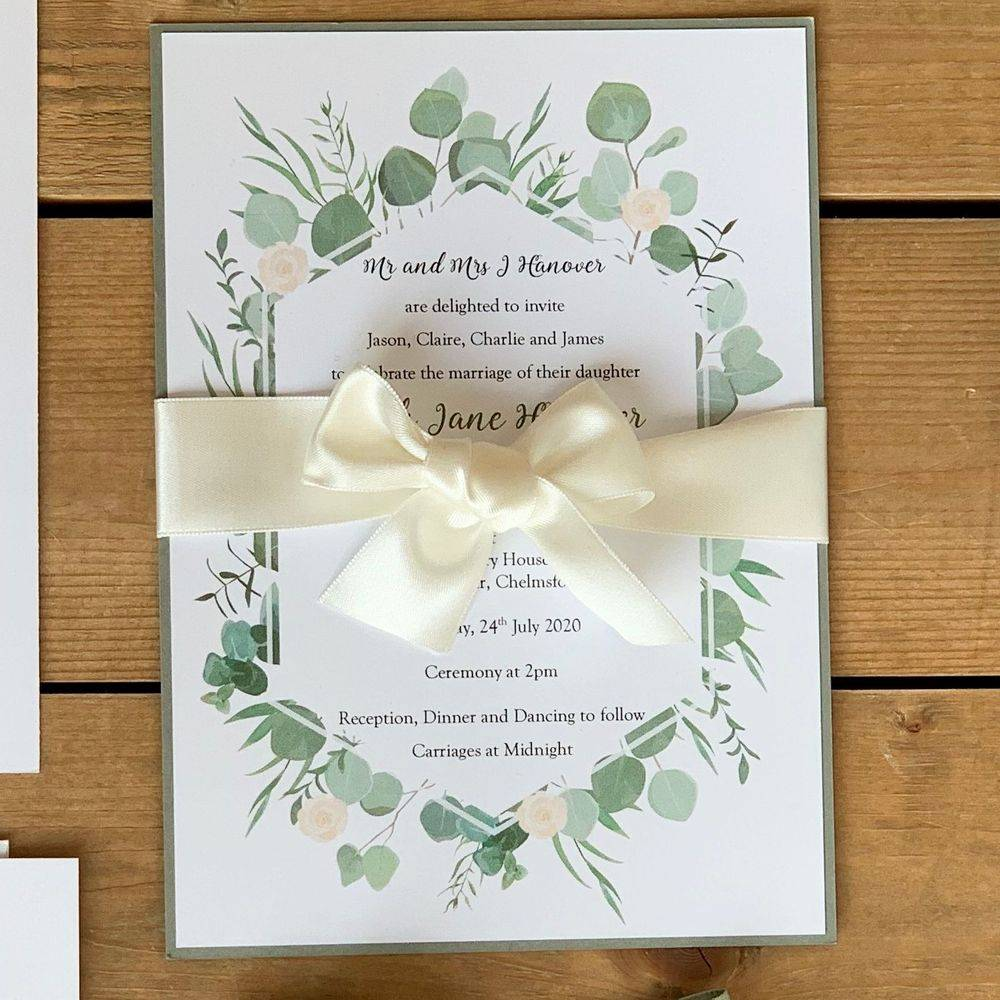 Wedding invitation with Eucalyptus border