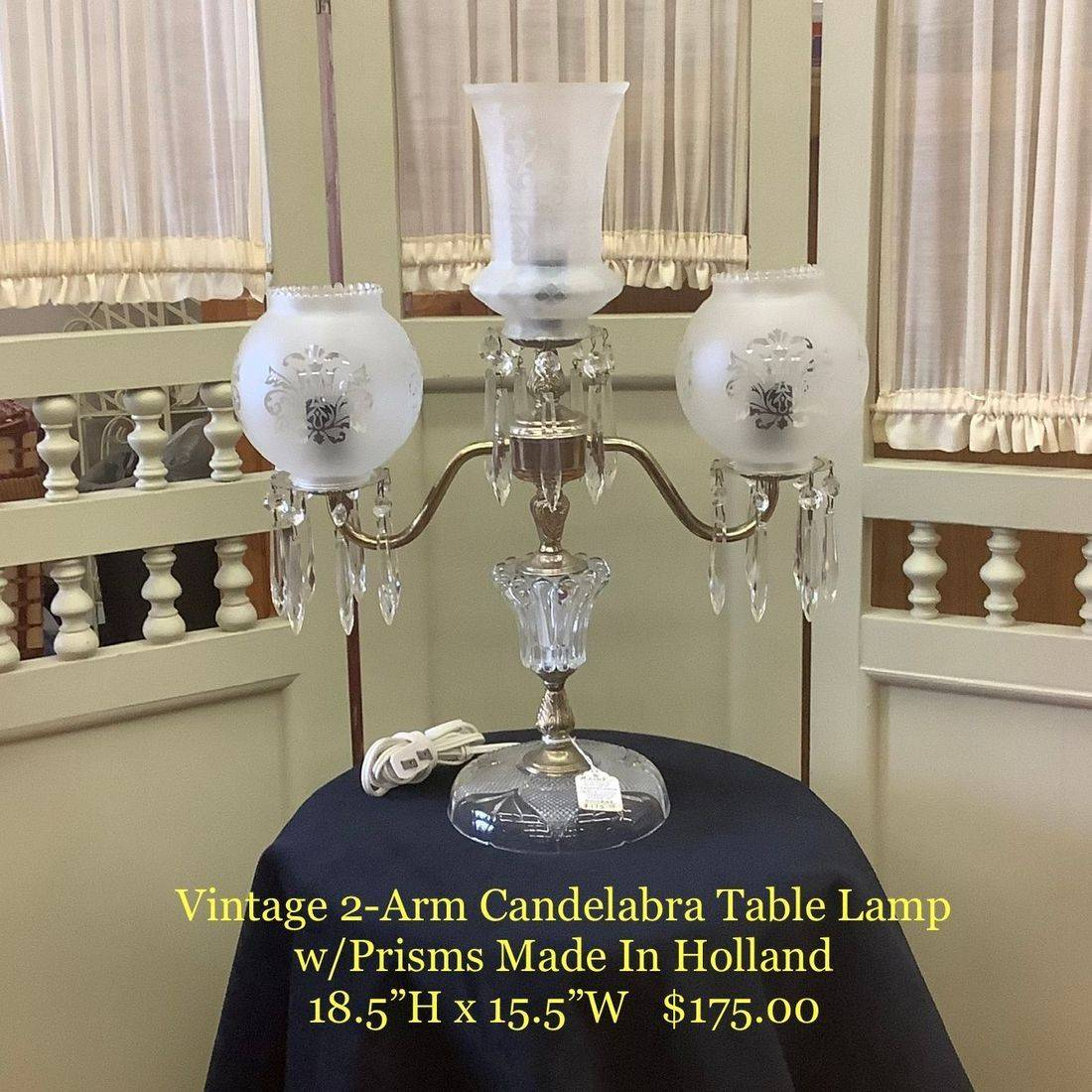 """Vintage 2-Arm Candelabra Table Lamp w/Prisms, Made in Holland  18-1/2""""H x 15-1/2""""W.  $175.00"""