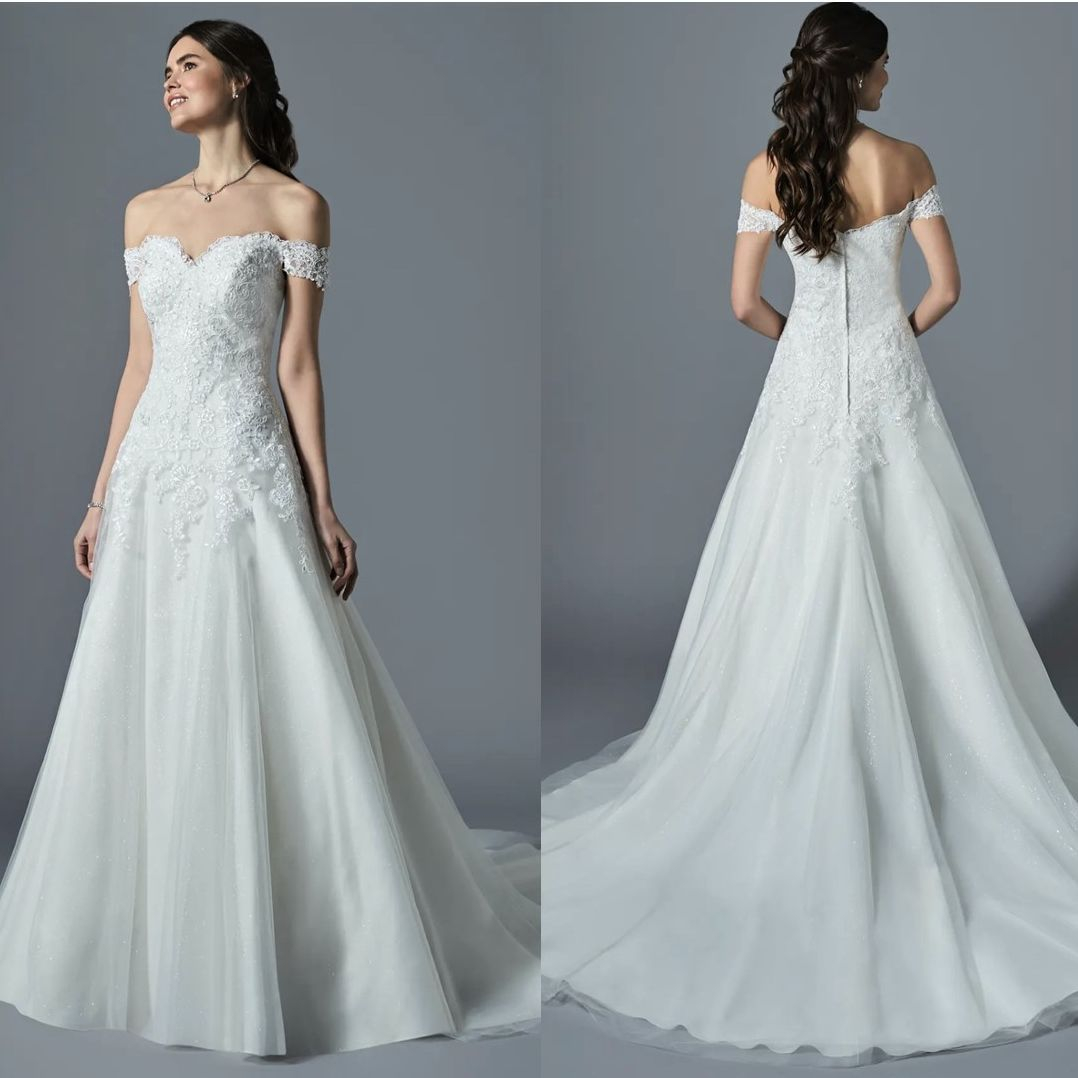 Fit and flare wedding dress, ivory, beaded, straps
