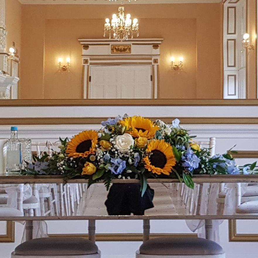 Wedding flower, registrar table arrangement