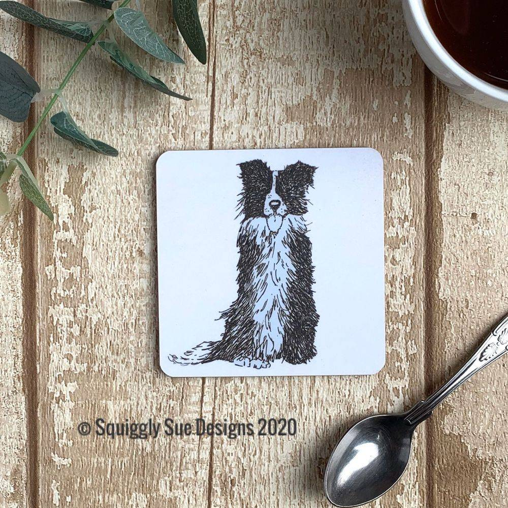 Border collie coaster pen & ink sketch