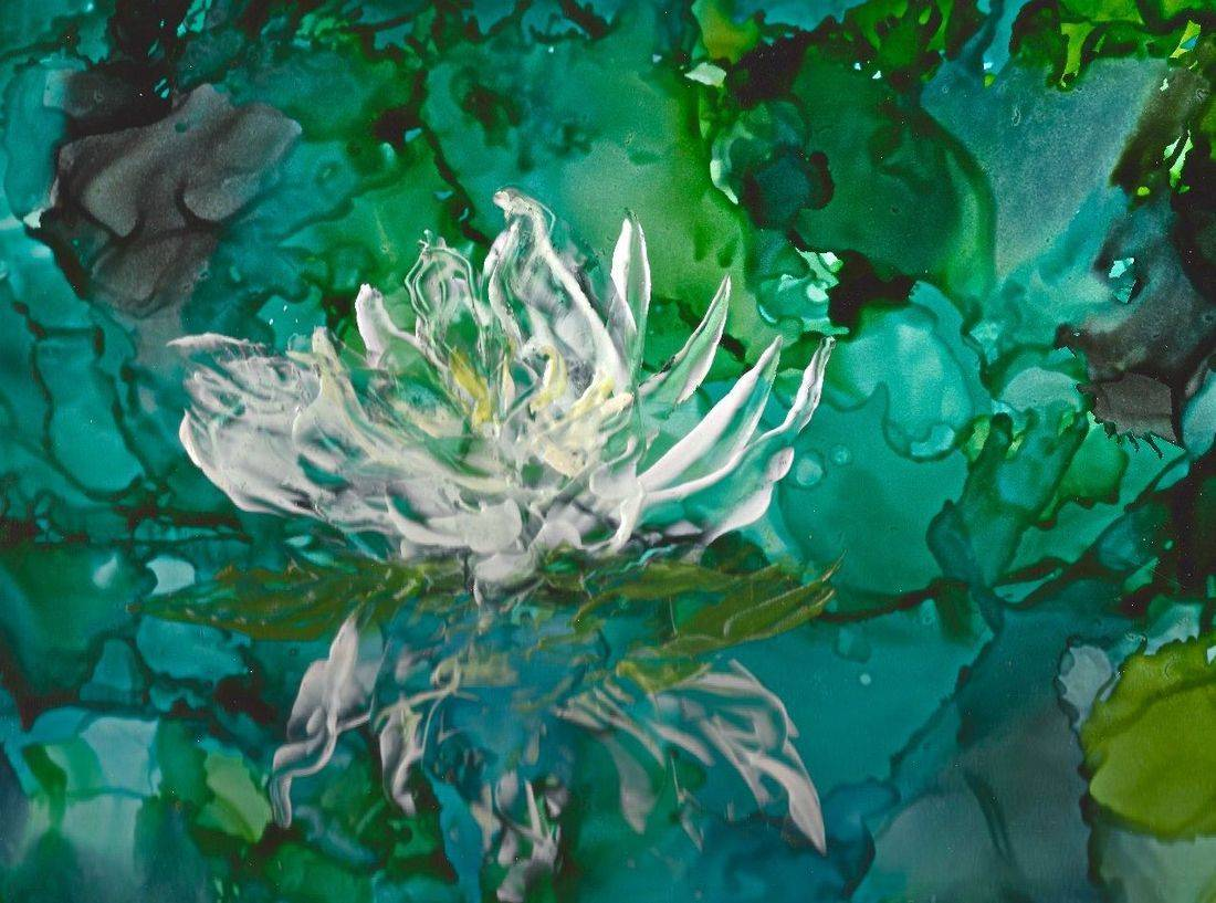 Lotus Flower, Alcohol Ink Painting, Abstract alcohol ink, modern art, zen art, lily pond, water lily, blues and greens, encaustic,  home decor, elegant home decor paintings, contemporary art