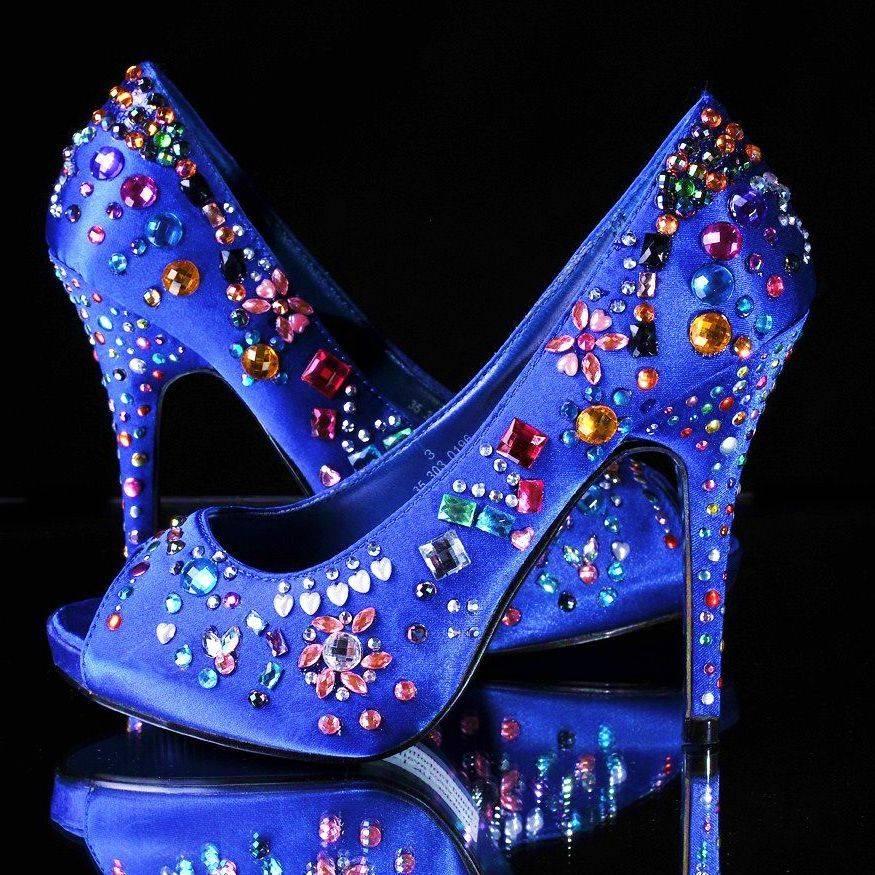 embellished jelly tots blue satin platform shoes 4 inch heel