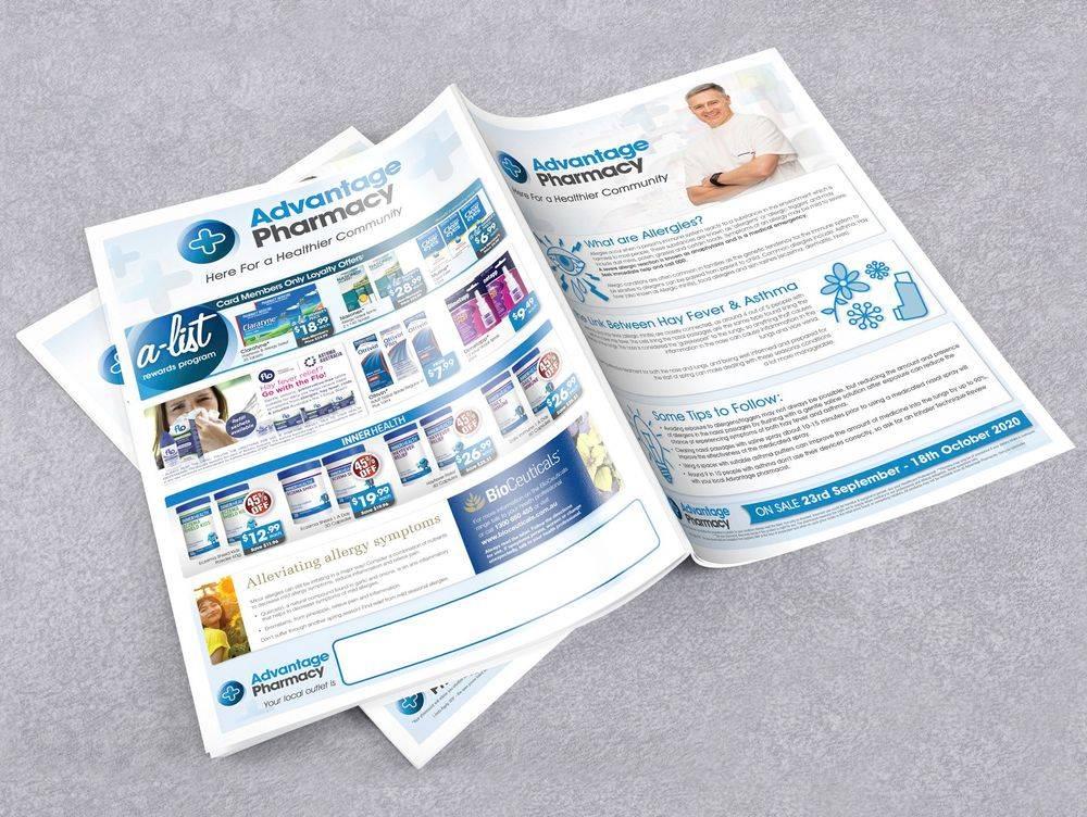 Pharmacy advertising, brochures, leaflets