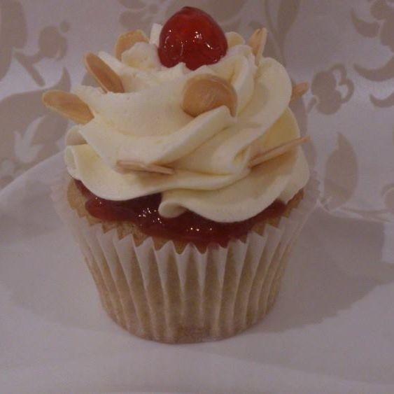 Vegan Cherry Bakewell Cupcake