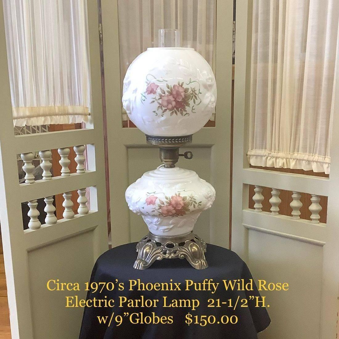Circa 1970's Phoenix Puffy Wild Rose Electric Parlor Lamp   $150.00