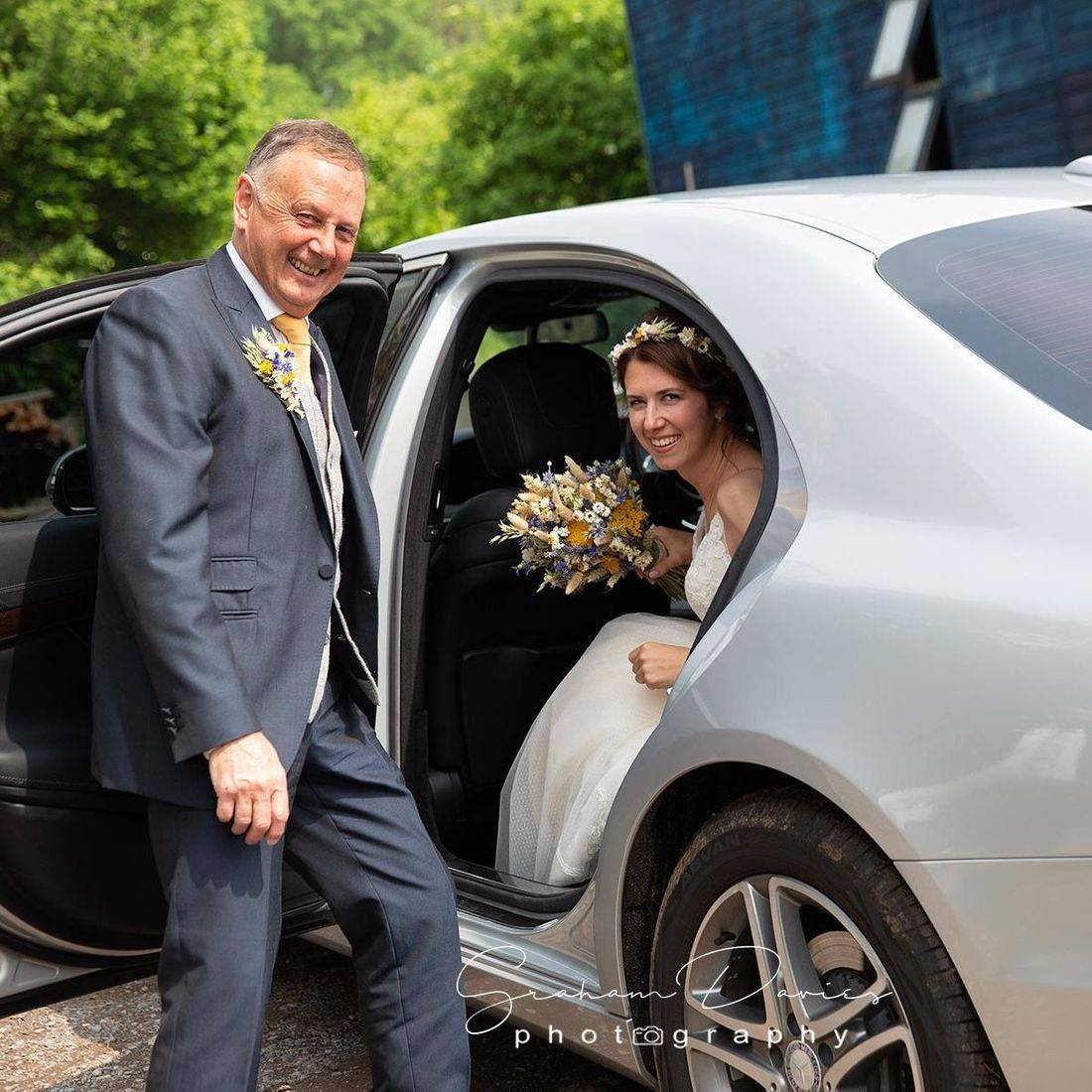 Wedding Car arrival at Coed Weddings
