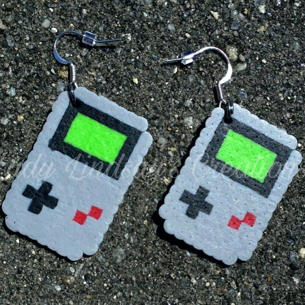 Gameboy, videogame, Nintendo, Earrings, Pixel, 8-bit, 16-bit, nerd, geek, otaku, kawaii, jewelry, handmade