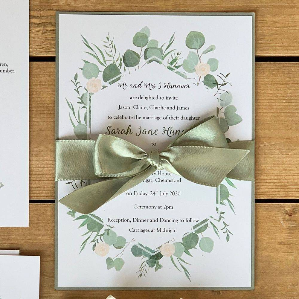Eucalyptus Border wedding invite with sage green ribbon