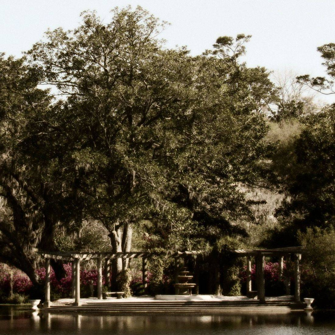 Gardens, Lake, Flowers, Trees, Garden, Pergola, Fountain, Water
