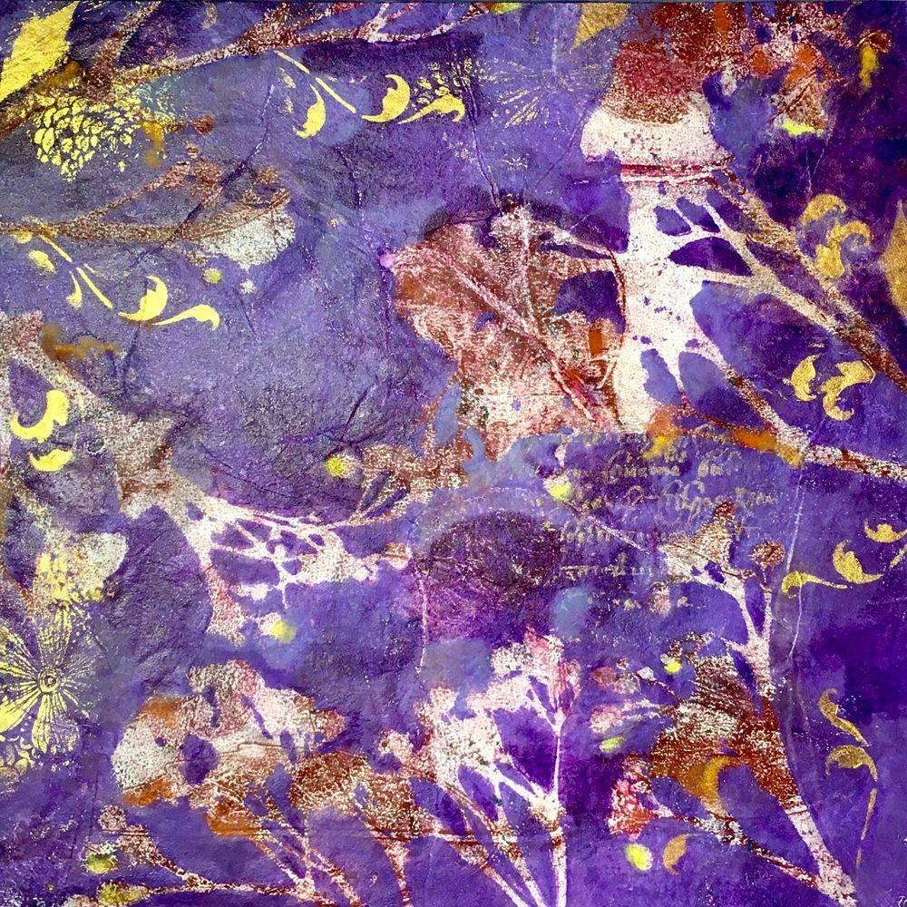 tableau lumineux, lampe, lamp, applique, gelli art, gelli print, gelli plate, monoprint,