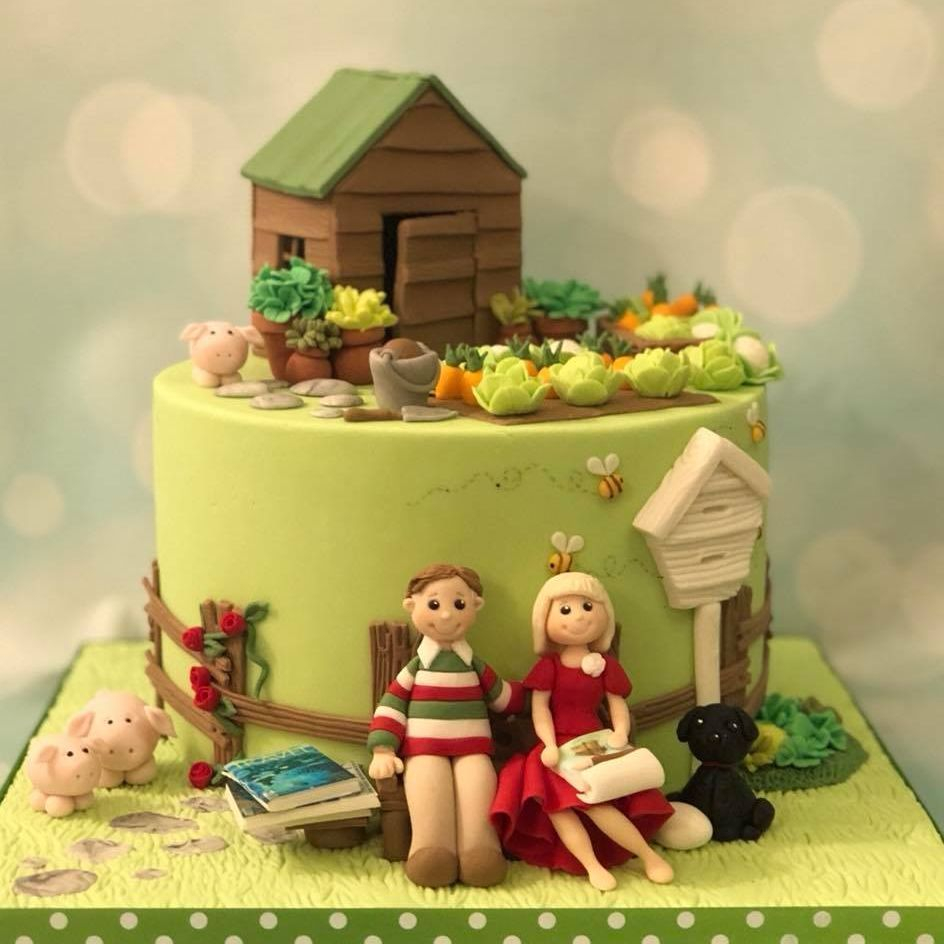Garden Vegetable Patch Cake Pigs Beehive Shed Plants Husband Wife