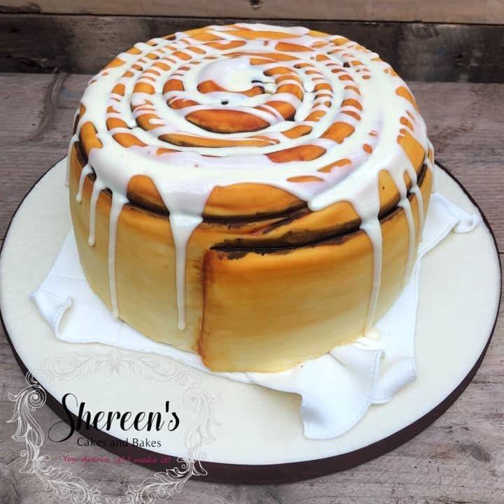 birthday cake iced bun cinnamon