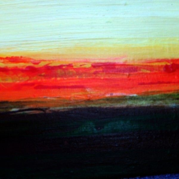 Blood Sunset 9 x 12 acrylic and ink on canvas $250
