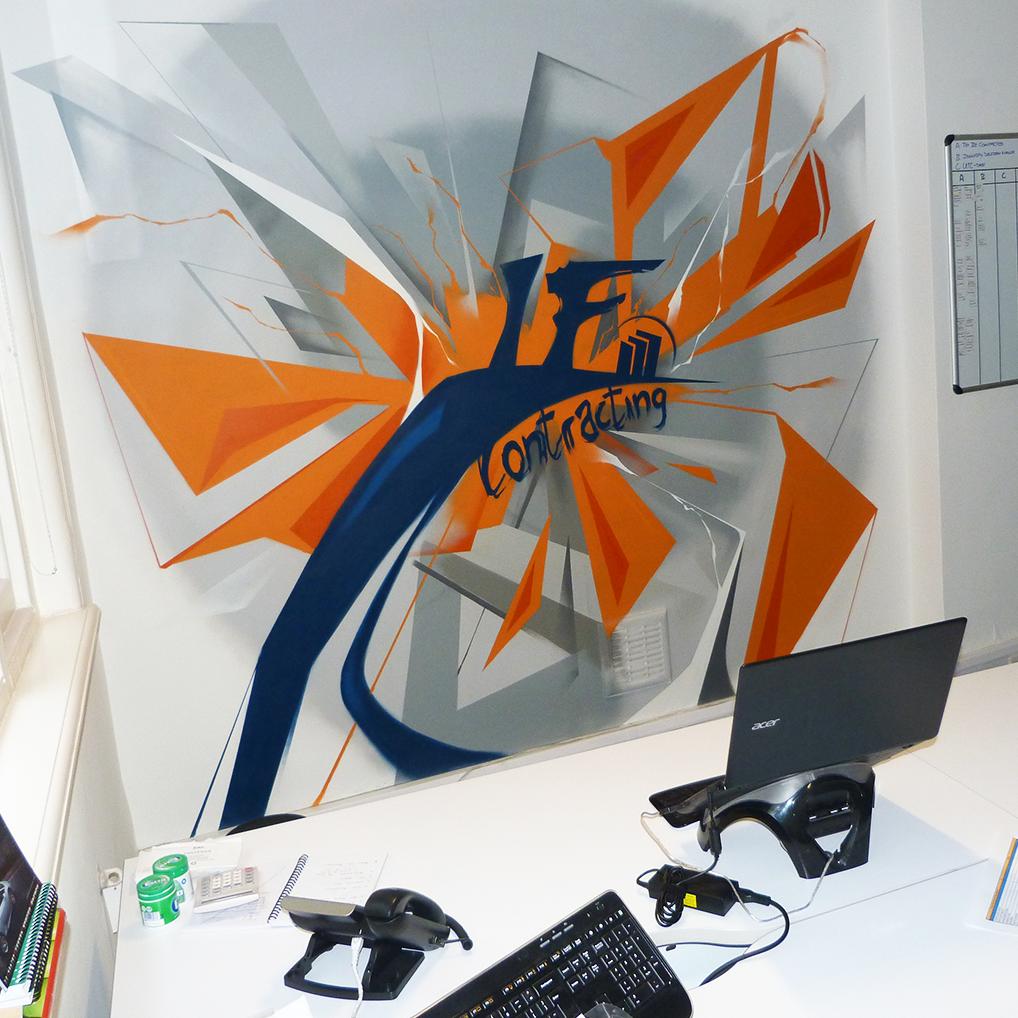 Dekorációs falfestés falfestmény graffiti festés  dekoráció iroda dekor
