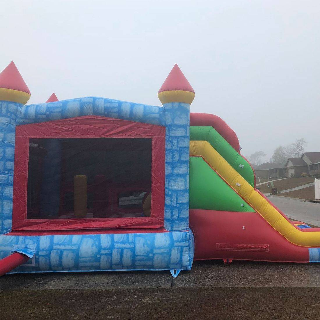 blue castle bounce  house waterslide combo