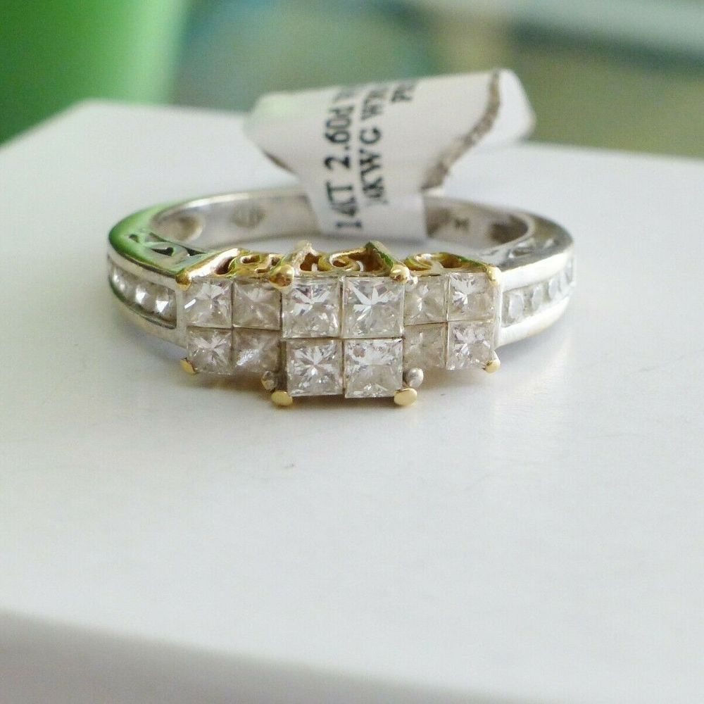 Princess Cut Diamond Quad Three Stone Engagement Ring in 14K White and yellow Gold