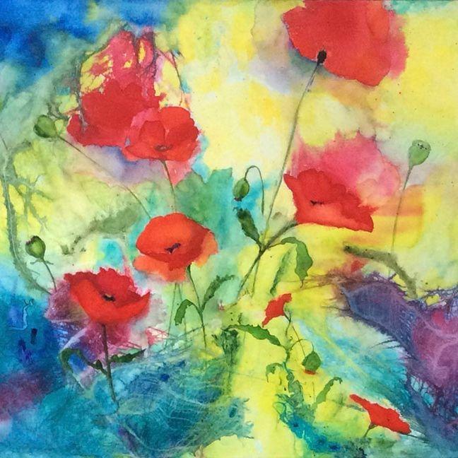 MRozear  - Poppies  24X36  Watercolors   sold