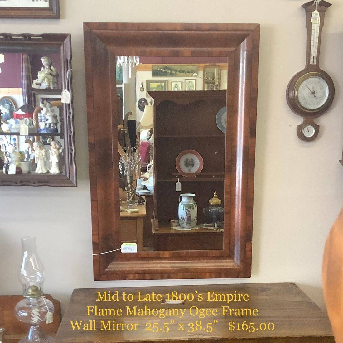 Mid to Late 1800's Empire Flame Mahogany Ogee Frame Wall Mirror   $165.00