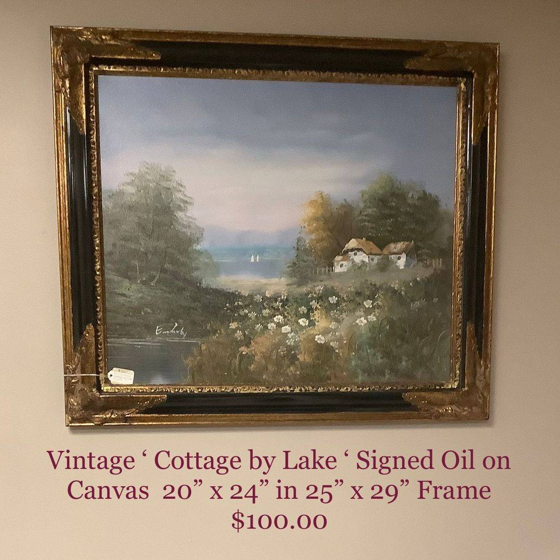 Vin. 'Cottage by Lake'  Signed Oil on Canvas  $100.00