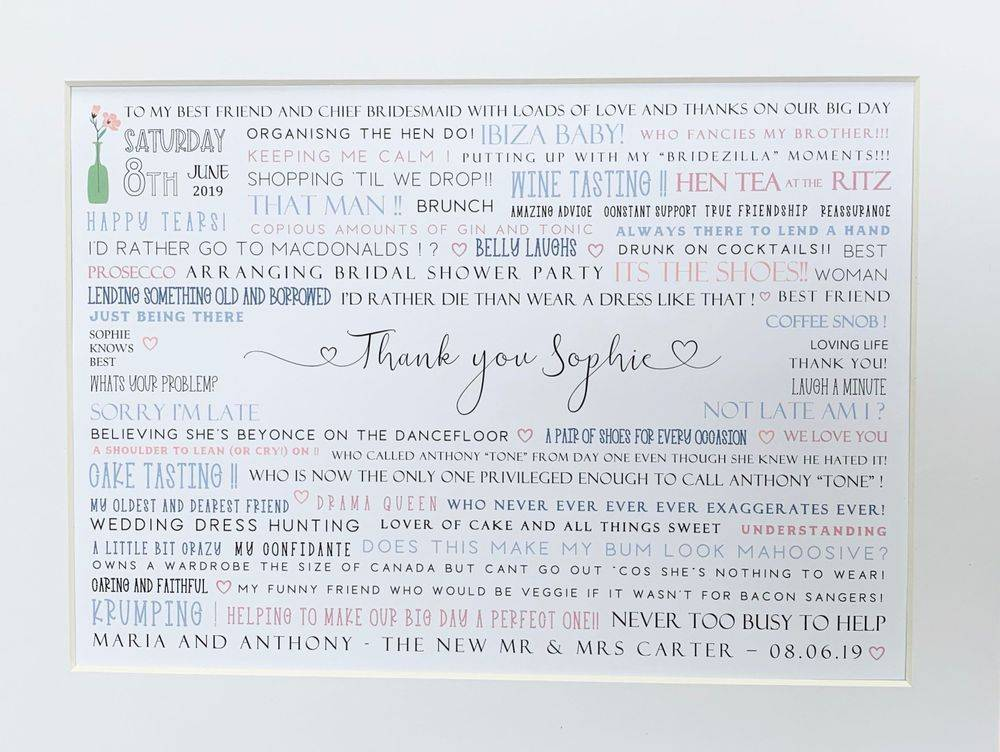 Personalised Bridesmaids Thank you Word Print