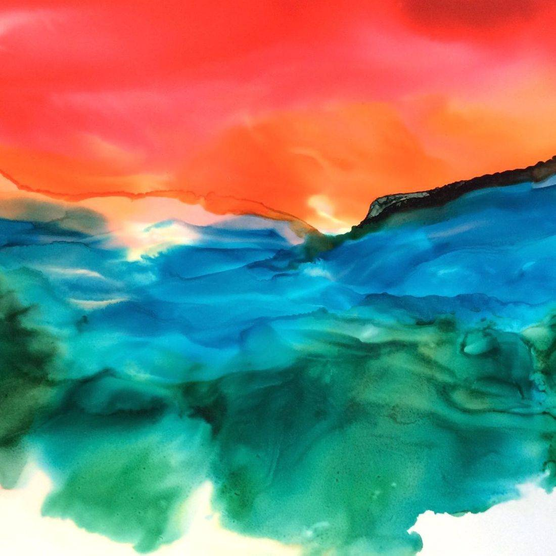Abstract Seascape Painting, Alcohol Ink on Yupo Paper, by Art And Soul By The Lake