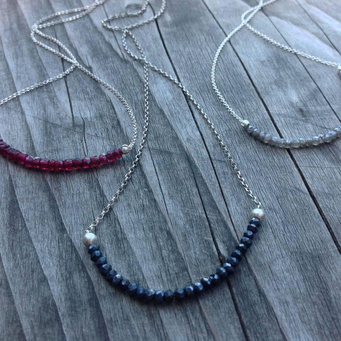 spinel, garnet, labradorite, faceted  gebmstone eads on silver chain, gemstone necklace, hand made gemstone necklace,  gemstone jewelry