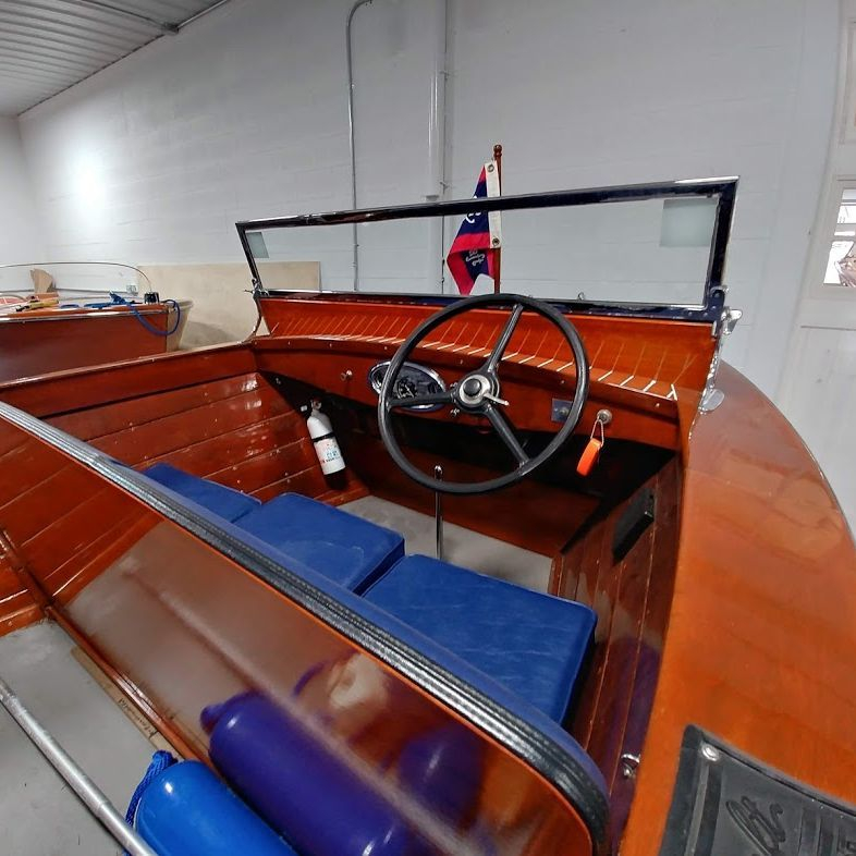 Chris craft for sale at lake geneva wood boat showroom
